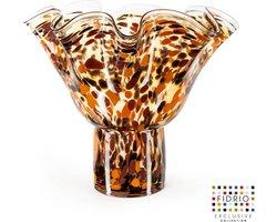 Design vaas Wave on base - Fidrio HAVANNA - glas, mondgeblazen bloemenvaas - hoogte 35 cm
