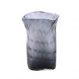 Design vaas Pot & vaas - glas kunst sculptuur - gekleurd glas - Vaas Bente grijs -  28 cm hoog --