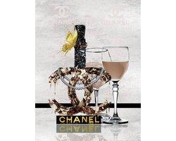 60 x 80 cm - Champagne van Chanel - Glasschilderij met goudfolie - Brands & Fashion