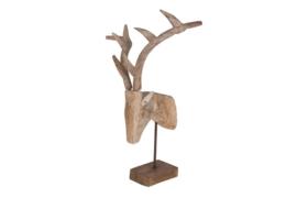Houten kunst - Beeld - sculptuur - houten herten hoofd