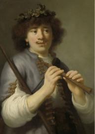 Foto op hout - Rembrandt als herder met staf en fluit