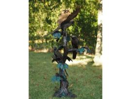 Tuinbeeld - groot bronzen beeld -  papegaaien op boom - Bronzartes