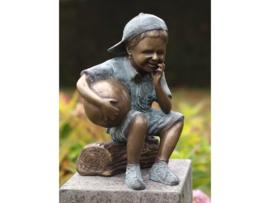 Tuinbeeld - bronzen beeld - Jongen met voetbal - Bronzartes - 36 cm hoog