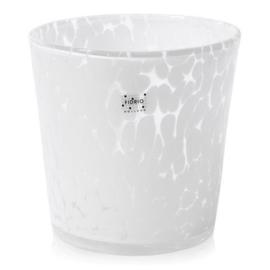 Design vaas Fidrio - glas kunst sculptuur - conic pot - White granulat - mondgeblazen - 19 cm hoog