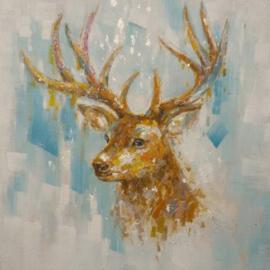 100 x 100 cm - Olieverfschilderij - Hert - dieren - handgeschilderd