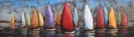 180 x 50 cm - 3D art Schilderij Metaal Kleurrijke Zeilboten - regatta - metaalschilderij - handgeschilderd