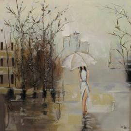 Olieverfschilderij - Vrouw in de stad - 100x100 cm
