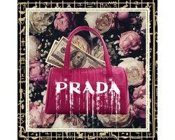 80 x 80 cm - Handtas van Prada - Glasschilderij - Brands & Fashion