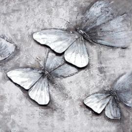 Olieverfschilderij - Grijze Vlinders - 100x100 cm