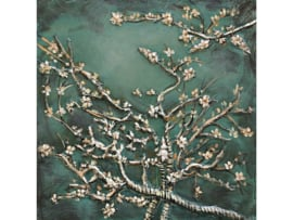 60 x 60 cm - 3D art Schilderij Metaal - amandelbloesem - handgeschilderd