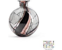 Design vaas Bolvase With Neck - Fidrio ONYX FLAME - glas, mondgeblazen bloemenvaas - diameter 19 cm