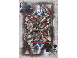 80 x 120 cm - 3D art Schilderij Metaal - klaveren vrouw spelkaart - handgeschilderd