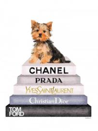 60 x 80 cm - Glasschilderij - schilderij - Fashion boeken - yorkshire terrier - foto print op glas --