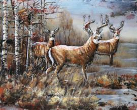 120 x 80 cm - 3D art Schilderij Metaal Herten in het bos - metaalschilderij - handgeschilderd