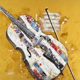 Olieverfschilderij - Kleurrijke Viool - 100x100 cm