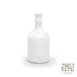 Design vaas Fidrio - glas kunst sculptuur - flores - White granulat - mondgeblazen - 22 cm hoog