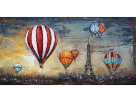 140 x 70 cm - 3D art Schilderij Metaal - Kleurrijke Luchtballonnen Parijs - handgeschilderd