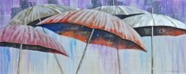 Olieverfschilderij - Paraplu's - 60x150 cm