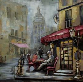 100 x 100 cm - 3D art Schilderij Metaal Stad café - stadsgezicht handgeschilderd