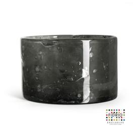 Design vaas Fidrio - glas kunst sculptuur - cilinder - Smokey - mondgeblazen - 14,5 cm hoog
