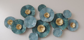 Metalen wanddecoratie - wanddeco - blauwe bloemen