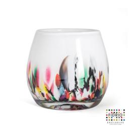 Design vaas Fidrio - glas kunst sculptuur - Fiore - coral - mondgeblazen - 15 cm hoog --
