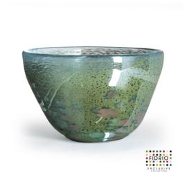Design vaas Fidrio - glas kunst sculptuur - bowl - Pearly - mondgeblazen - 31 cm hoog