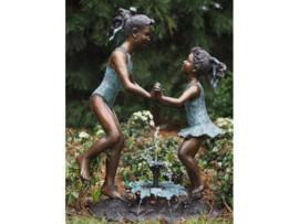 Tuinbeeld - groot bronzen beeld - kinderen in badpak - Bronzartes