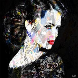 80 x 80 cm - Schilderij lippen Dibond - Foto op aluminium - vrouw in het zwart - fotokunst - Mondiart