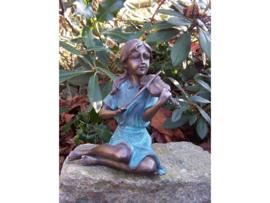 Beeld brons - Meisje met Viool - Bronzartes - 15 cm hoog - voor huis en tuin