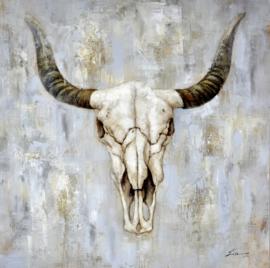 100 x 100 cm - Olieverfschilderij - Hoorns - dieren - handgeschilderd