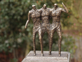 Tuinbeeld brons - bronzen beeld - Modern De drie vrienden - Bronzartes