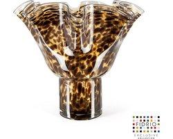Design vaas wave on base - Fidrio LEPPARD - glas, mondgeblazen bloemenvaas - hoogte 35 cm