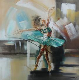 Olieverfschilderij - Blauwe danseres - 100x100 cm