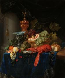 80 x 120 cm - Plexiglas schilderij - Stilleven met gouden Bokaal - klassieke kunst afbeelding op acryl - oude meesters!