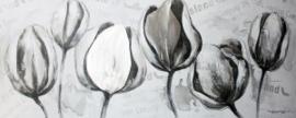 Olieverfschilderij - Bloemen - 60x150 cm