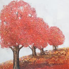 80 x 80 cm - Olieverfschilderij - Bomen herfst - handgeschilderd