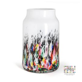 Design vaas Fidrio - glas kunst sculptuur - Bloom - coral - mondgeblazen - 30 cm hoog