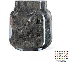 Design vaas Bloom - Fidrio NERO zwart - bloemenvaas - glas, mondgeblazen - hoogte 20 cm --