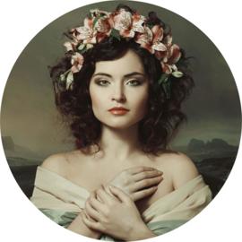 100 cm rond - Glasschilderij - schilderij fotokunst - vrouw - met bloemen  -   foto print op glas