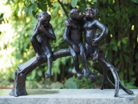 Tuinbeeld brons - Bronzen beeld - Apen op boomstam - Bronzartes