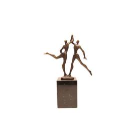 Bronzen beeldje - sculptuur - figuur - handen ineen slaan