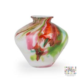 Design vaas Fidrio - glas kunst sculptuur - belly - Mixed colours - mondgeblazen - 15 cm hoog --