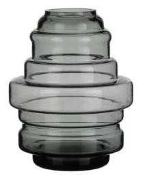 Design vaas Pot & vaas - glas kunst sculptuur - gekleurd glas - Vaas Faro grijs -  20 cm hoog --