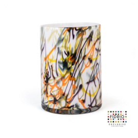 Design vaas Fidrio - glas kunst sculptuur - cilinder - Spirelli - mondgeblazen - 25 cm hoog