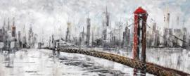 150 x 60 cm - Olieverfschilderij - Brug - stadsgezicht skyline handgeschilderd