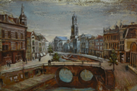 120 x 80 cm - 3D art Schilderij Metaal Utrechtse grachten - stadsgezicht handgeschilderd