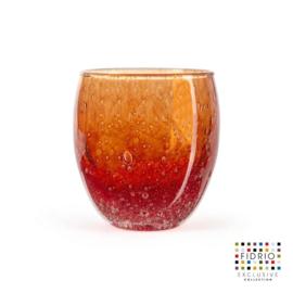 Design vaas  - Fidrio AMBER - glas, mondgeblazen bloemenvaas - diameter 10,5 cm hoogte 12 cm --