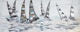 150 x 60 cm - Olieverfschilderij - Bootjes - handgeschilderd