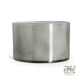 Design vaas Fidrio - glas kunst sculptuur - cilinder - Grey/opal - mondgeblazen - 14,5 cm hoog